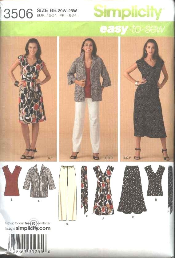 Simplicity Sewing Pattern 3506 Womans Plus Size 20w 28w Easy