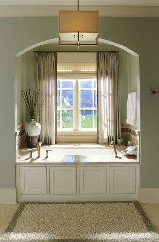 Walls October Mist Ben Moore And Trim Is Manchester Tan Home Cute Home Decor Traditional Bathroom