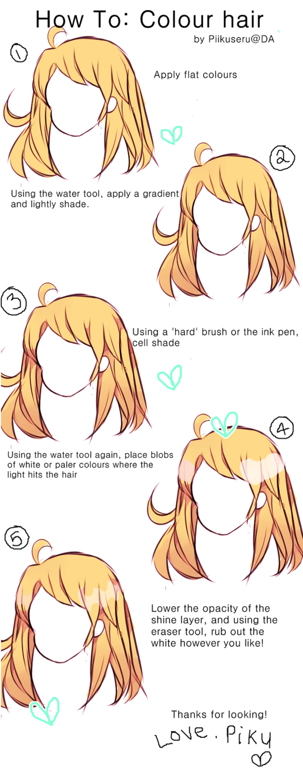 Hair Tutorial Colouring By Piikuseru On Deviantart Cartoon Style Drawing Paint Tool Sai Tutorial