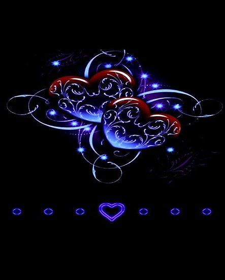 Love Hearts Red Purple Glow Neon
