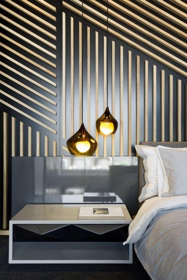 Atmosphärisches Schlafzimmer Ambiente Wand Streifen Pendelleuchten