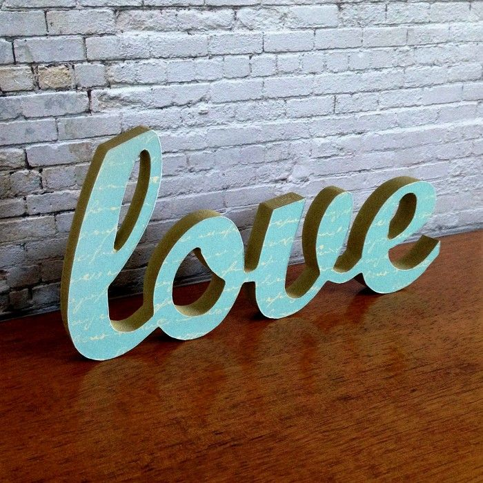Bedrooms  C B Love Letter Wooden Freestanding Script Word Sign Plaque