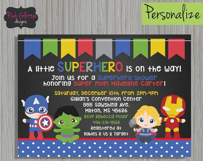 Superhero Shower Baby Invite Boy DIGITAL FILE