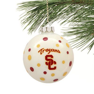 USC Trojans Polka Dot Ball Ornament!!! Cuuuute!!!! Ordered some to add to  my tree <3 cardinal and gold! - USC Trojans Polka Dot Ball Ornament USC Trojans Football
