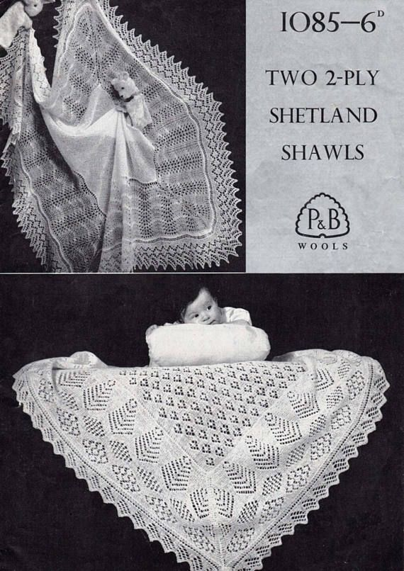 Round /& Square on 1 knitting pattern lovely old shawls Vintage Baby Shawls