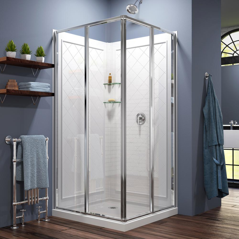 Dreamline Cornerview 36x36x76 75 In Framed Corner Sliding Shower