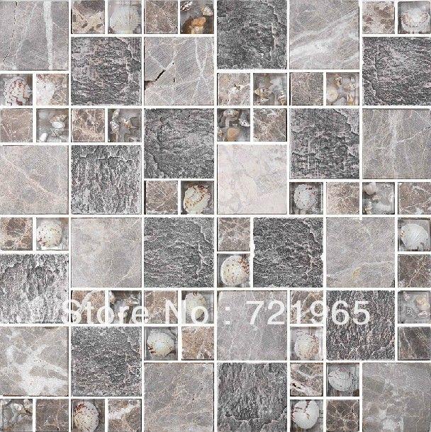 Gl Mosaic Blend Mother Of Pearl Tile Backsplash Rnmt004 Grey Stone Bathroom Tiles Shell Mosaics