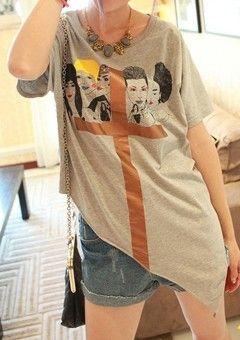 Grey Short Sleeve Womens Cross Print Cotton Asymmetric Hem T-Shirt