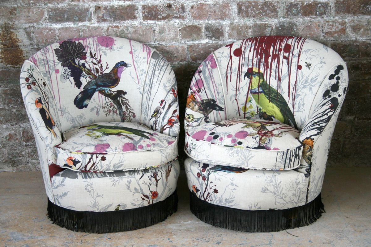 Furniture Timorous Beasties Bird Bleed Tub Chairs