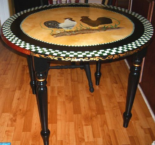 Pictures Of Painted Kitchen Tables: Hand Painted French Country Bristo Style Table By Cheryl
