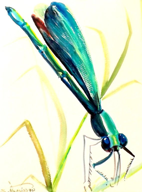 Dragonfly original watercolor painting portrait by ORIGINALONLY, $26.00