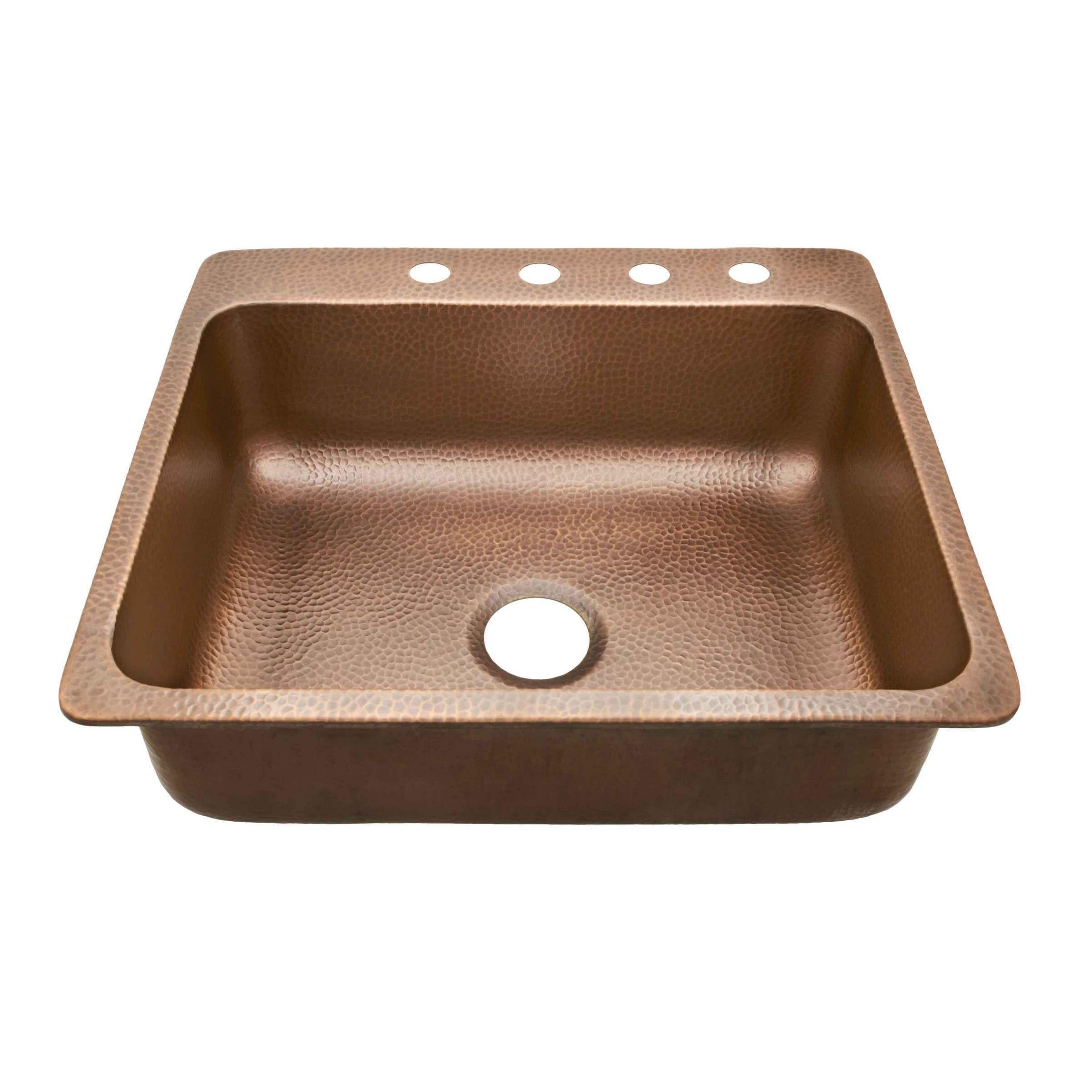 Sinkology Rosa Drop In 25 4 Hole Kitchen Sink In Antique Copper