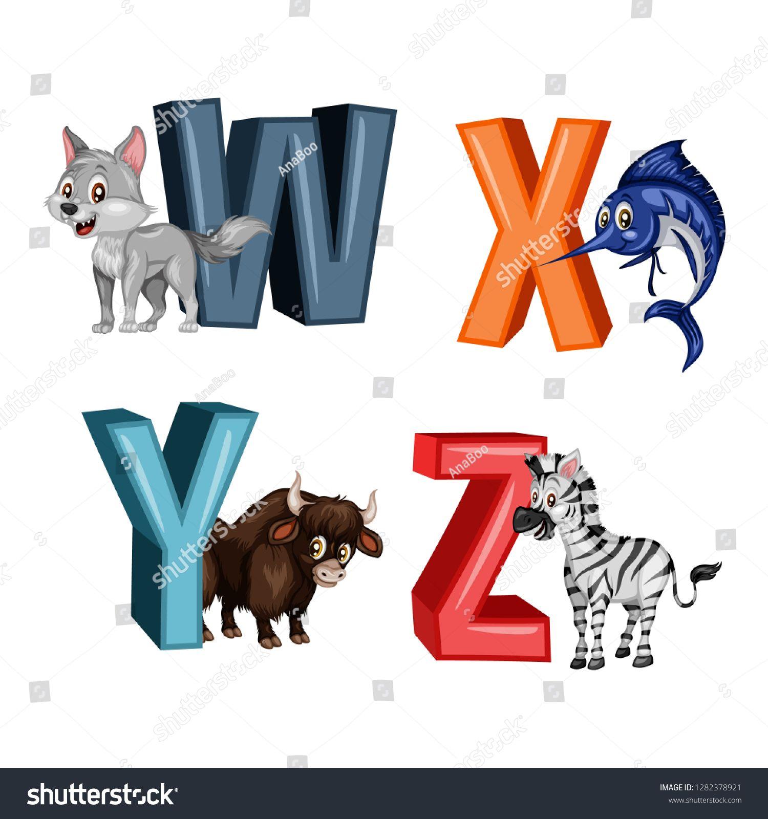 Animal Alphabet Vector Illustration Of Happy Wolf Xiphias Yak Zebra Letters W X Y Z Cute Cartoon Cute Cartoon Animals Animal Alphabet Cartoon Animals