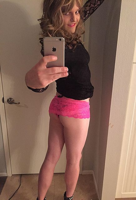 Wife shows off sissy husbands ass