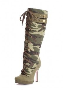 Canvas Camouflage Knee High Boot With Metal Embellishment Price: 79,95 € Details: http://missemelie.com/en/boots/324-canvas-camouflage-knee-high-boot-with-metal-embellishment-714718441979.html