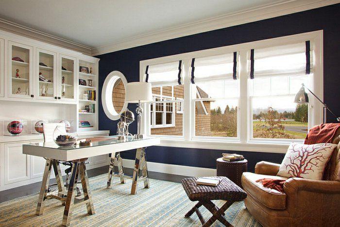 raffrollos blickdicht weiß schwarz arbeitszimmer gestalten - wohnzimmer gestalten schwarz weis