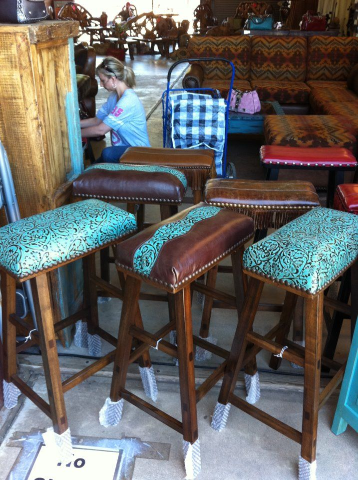 Cowhide Western Furniture Co Barstools In Turquoise Tooled Leather