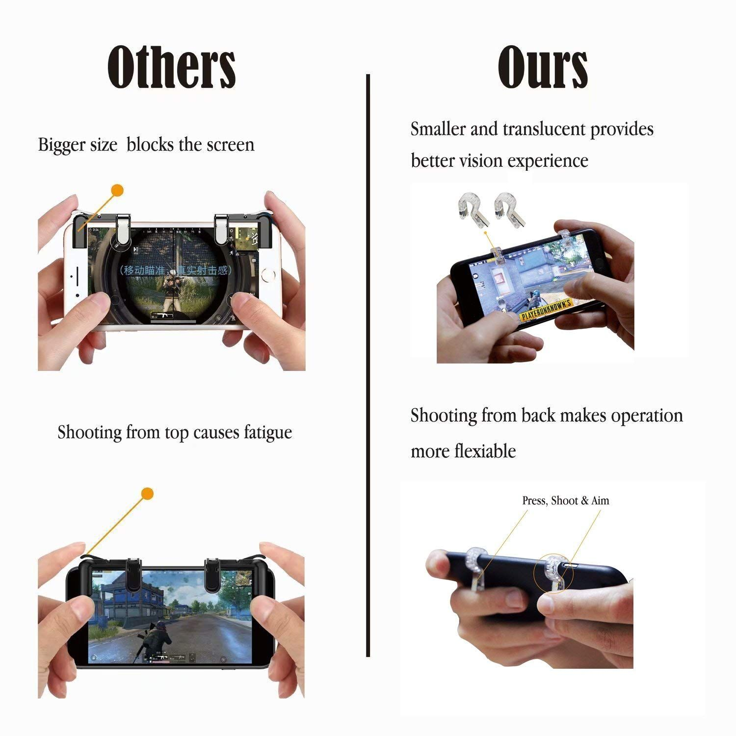 Amazon Com Pubg Mobile Controller Yatech Mobile Gaming Triggers Senstive And Aim And Shoot Buttons L1r1 Joysticks For Fortnight Knives Out Joystick Mobile Aim