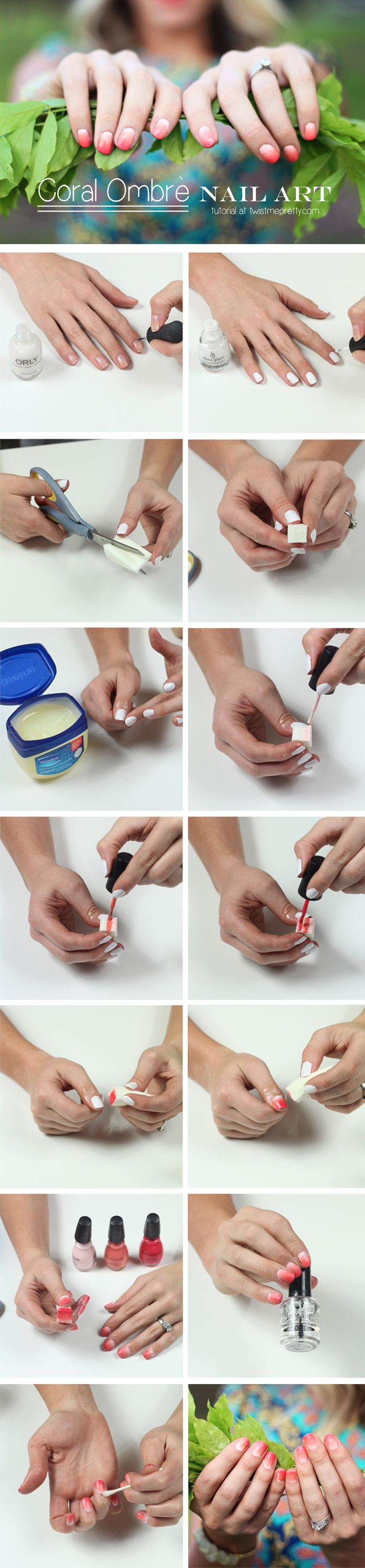 Such an easy ombre nail art tutorial! I love the gorgeous coral ...