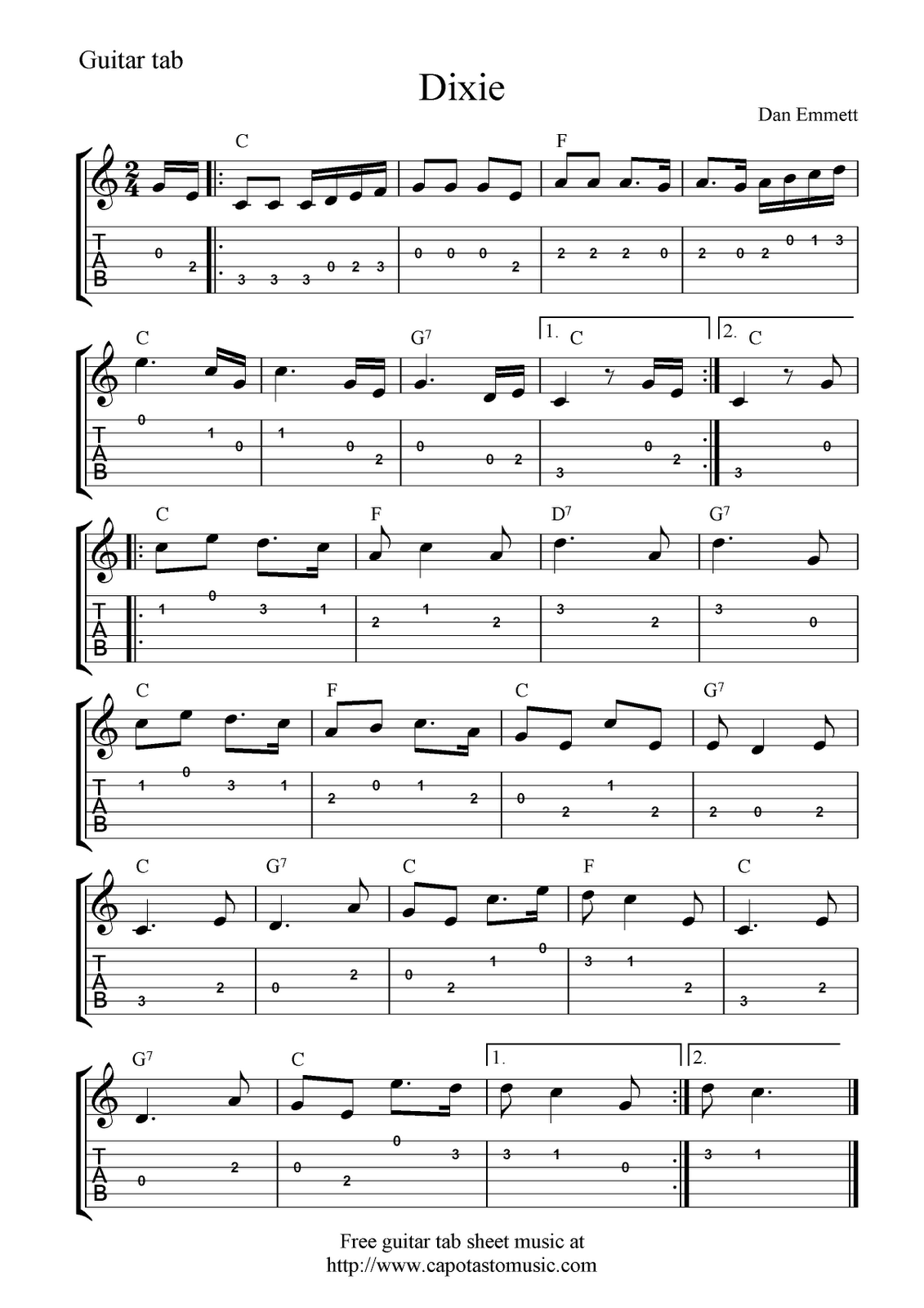 guitar music sheets for beginners free guitar tab sheet music dixie guitar in 2019 guitar. Black Bedroom Furniture Sets. Home Design Ideas