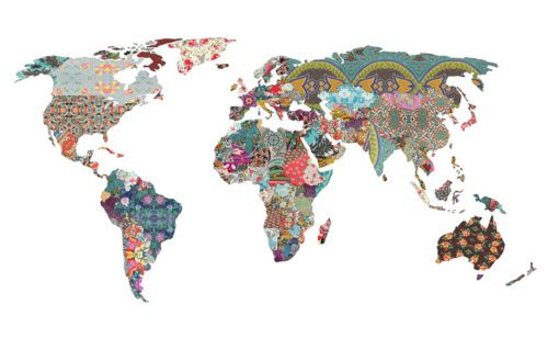 Louis armstrong told us so print of world map as fabric patterns louis armstrong told us so print of world map as fabric patterns by gumiabroncs Image collections