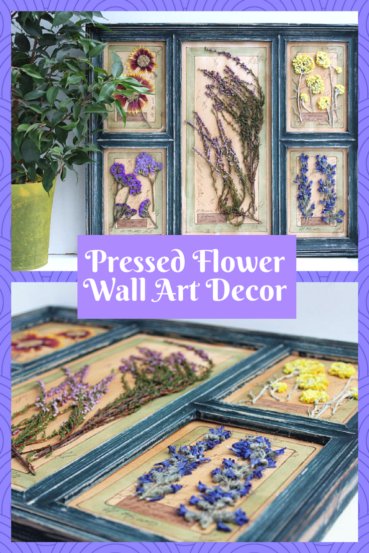 Beautiful wall art decor pressed herbs and flowers in wooden frame