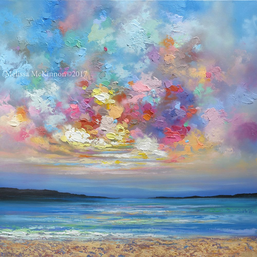 Beautiful Ocean Beach And Sunset Sky With Clouds Landscape Painting Art By Contemporary Artist Painter Melissa Mckinnon Colourbration Sky Painting Sunrise Painting Scenery Paintings