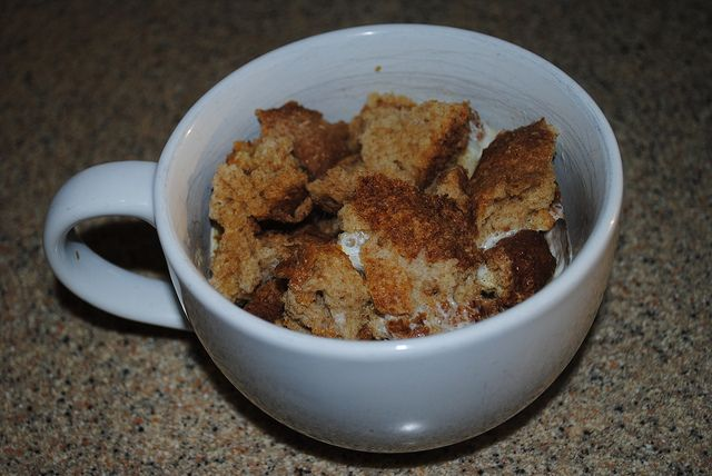 microwaved bread pudding in 2 minutes
