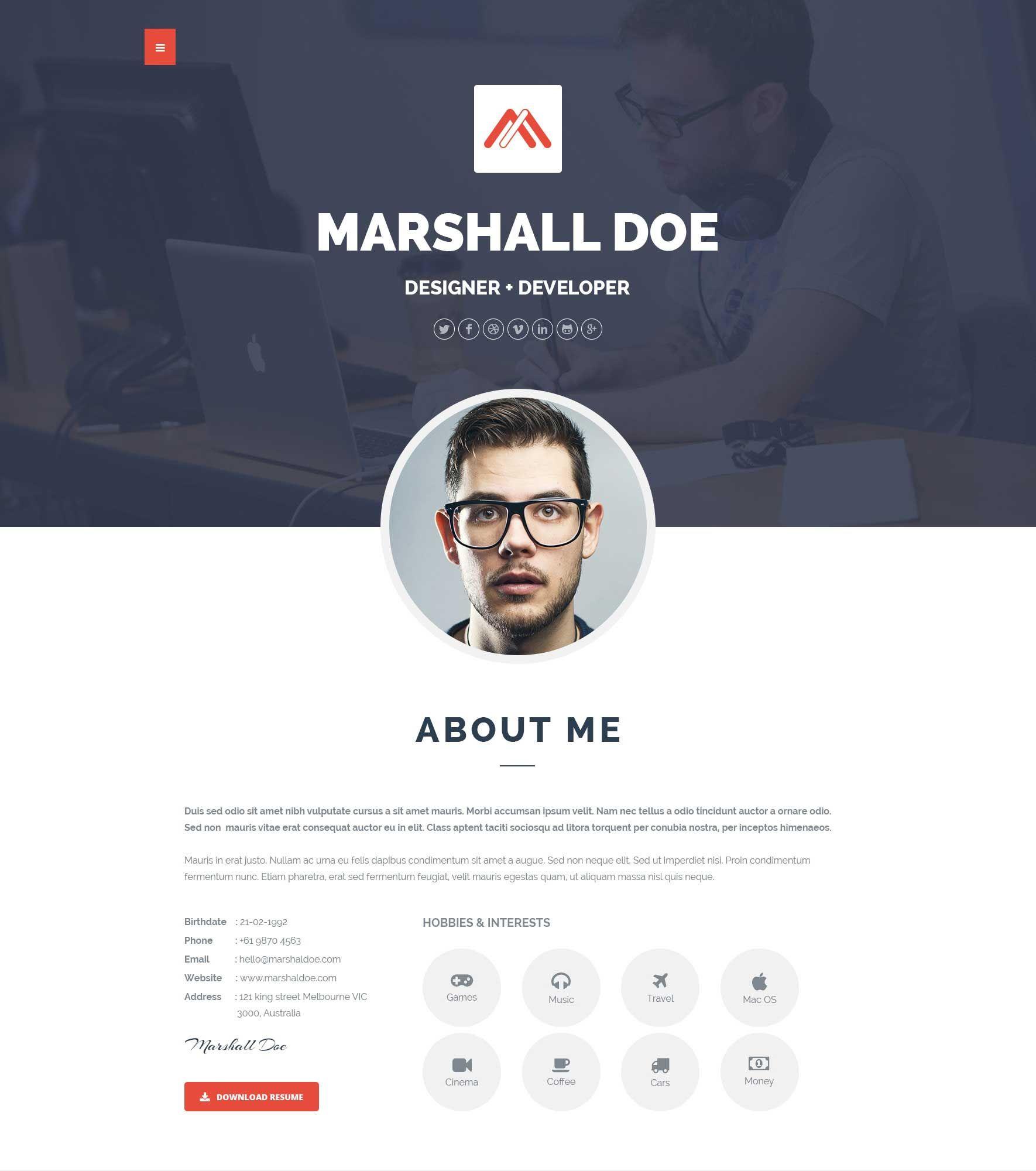 Responsive Personal Resume Portfolio Template  SeedrCc