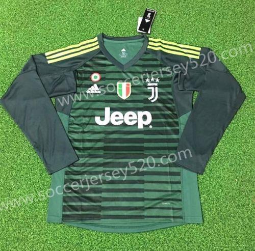 4c6fae0cd90 2018-19 Juventus FC Goalkeeper Green Thailand LS Soccer Jersey AAA ...