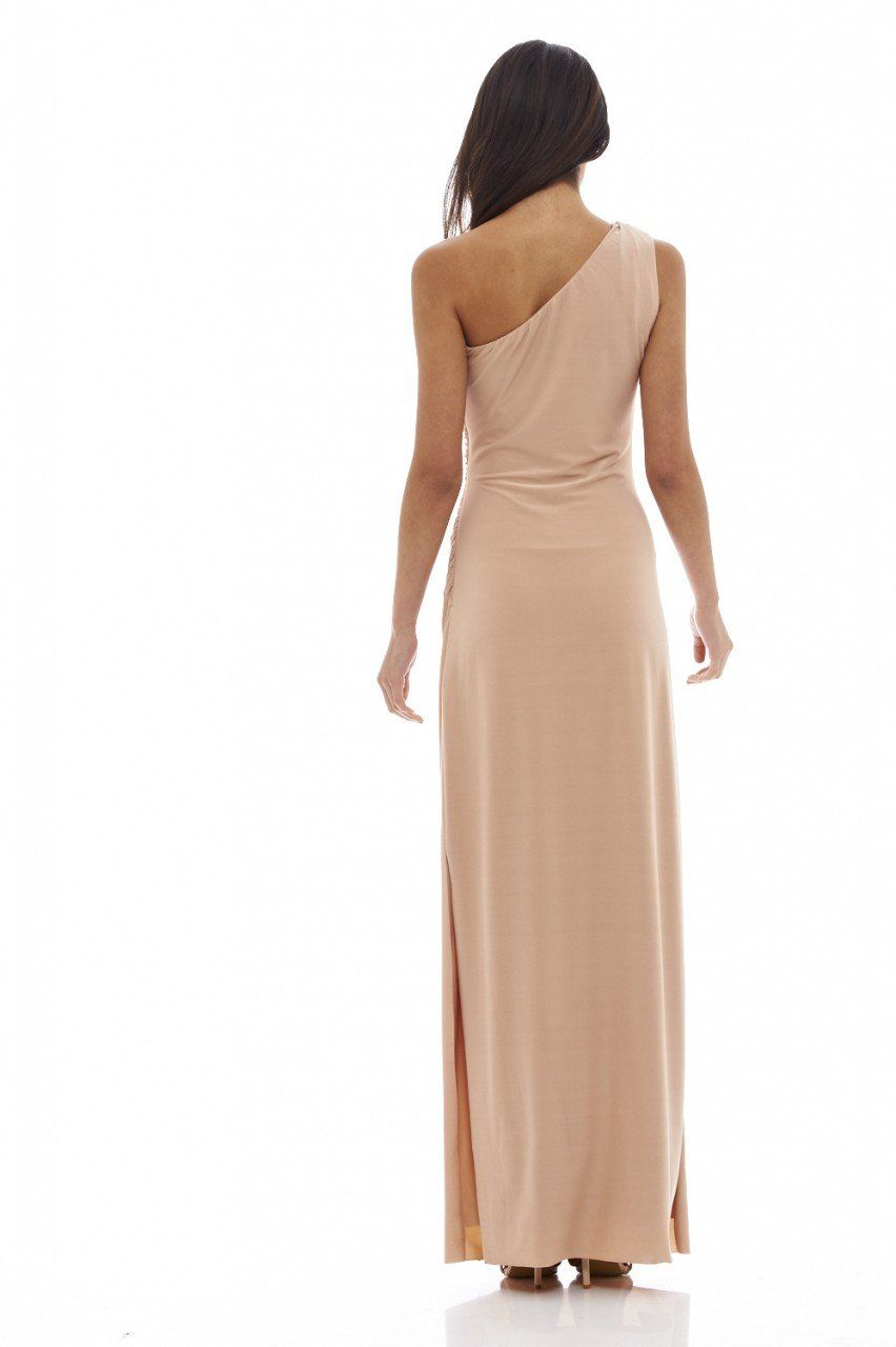 Womens Nude Lace Detail Maxi Dress