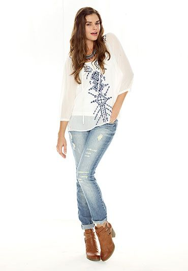 Embroidered high-low chiffon peasant top - maurices.com
