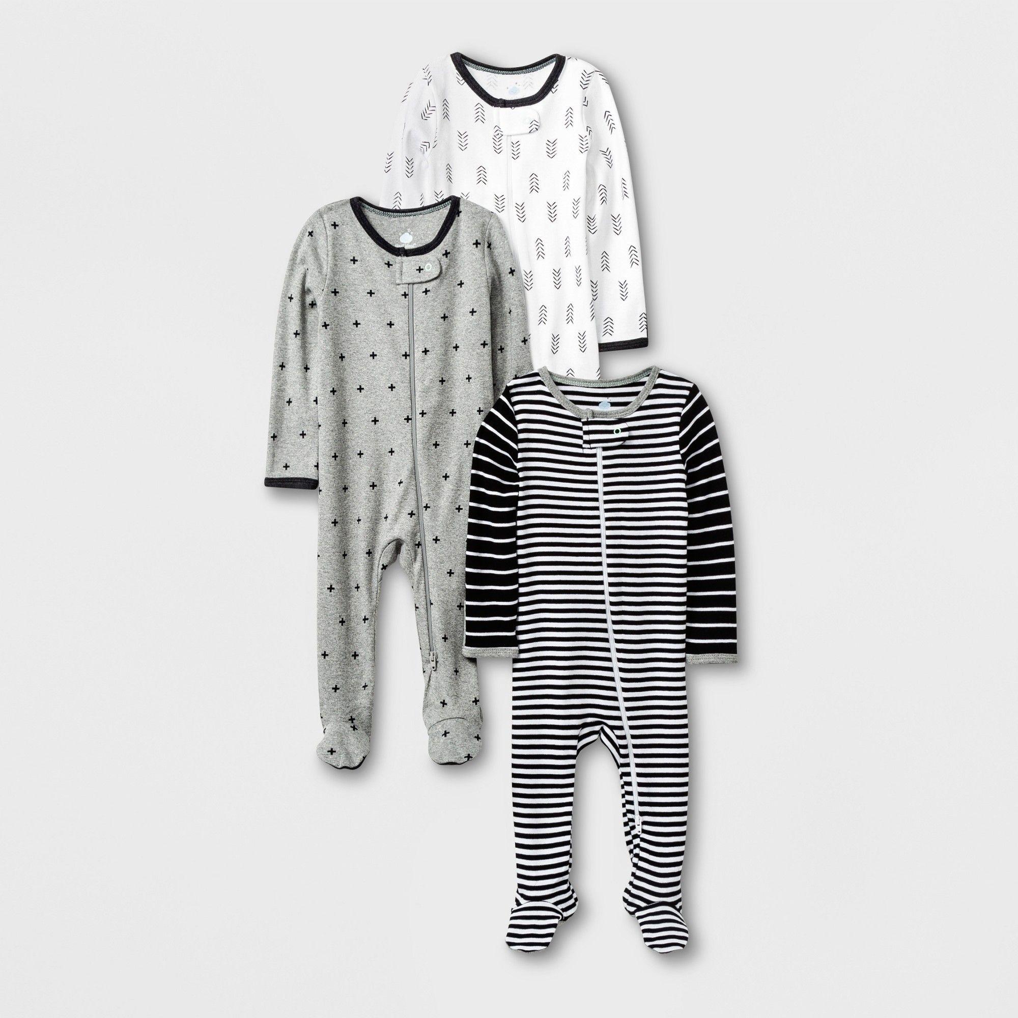 314e5cc1a Baby 3pk Long Sleeve Pajama Set - Cloud Island Black/White/Gray Newborn,  Newborn Unisex