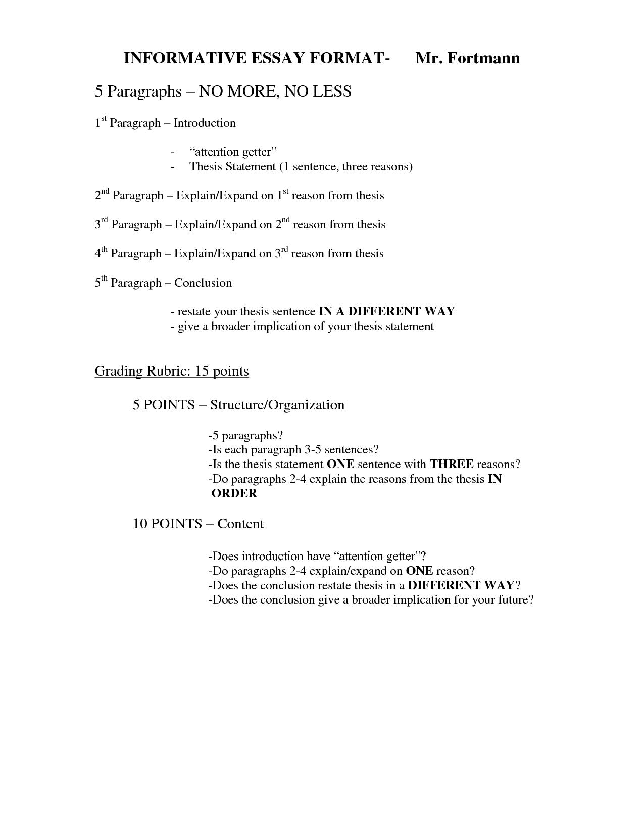 Informative Essay Outline Sample