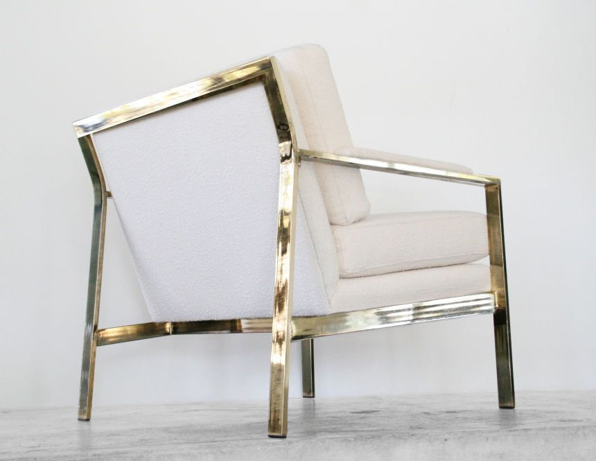Milo Baughman   Brass Cream Nubby Arm Chair (circa 1970s)   Beautiful Brass  Frame
