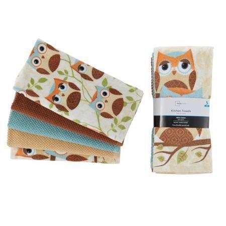 Mainstays 5 Piece Owl Kitchen Towel Set Owl Kitchen Kitchen Towel Set Kitchen Towels