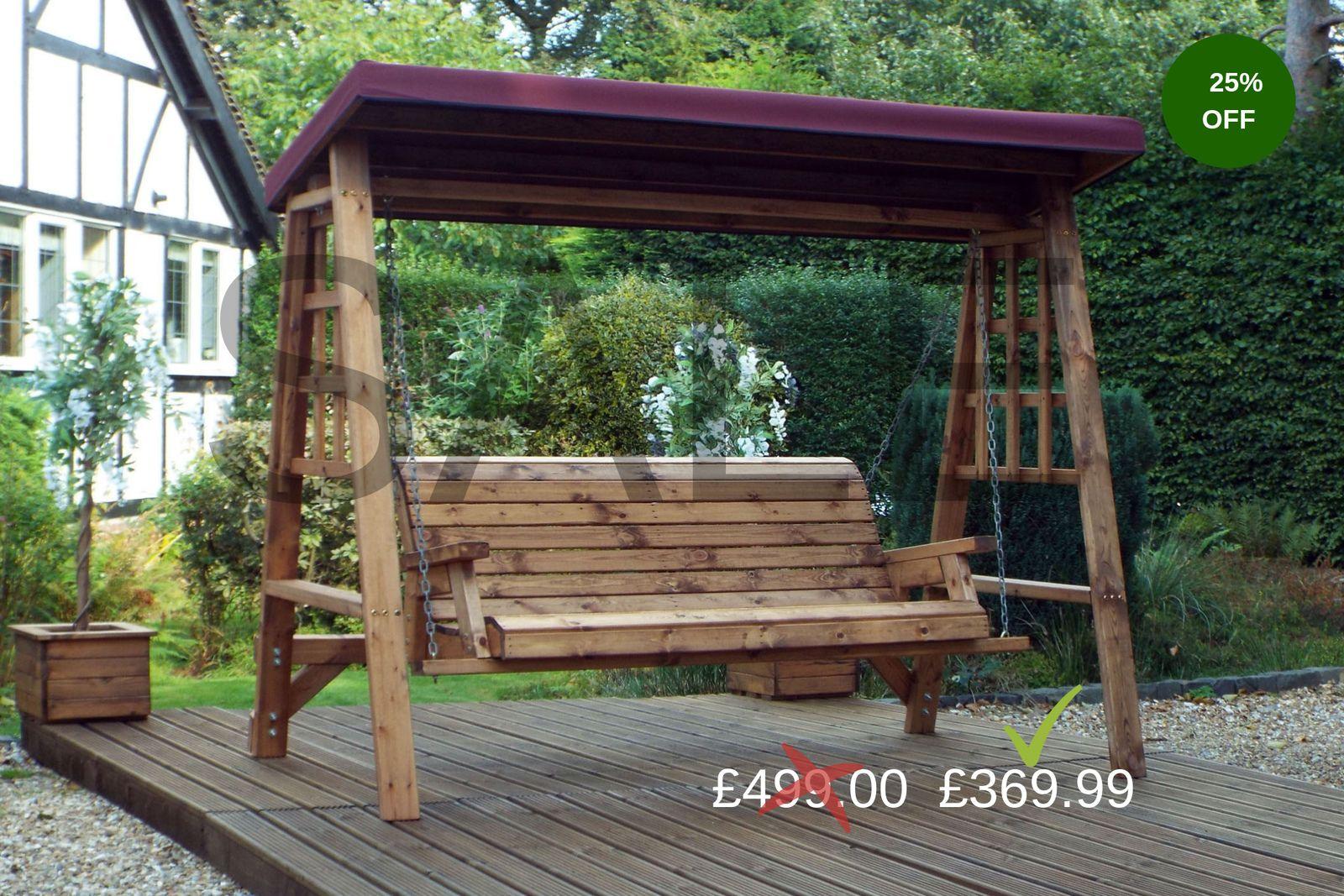 wooden swing chair garden