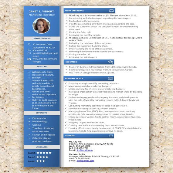 Creative Microsoft Word Resume Template Easy to edit and - degree in microsoft word