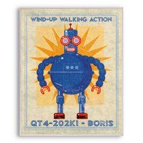 20 in. Boris Box Art Robot Framed Print
