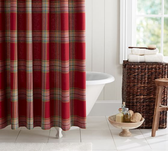 Blake Plaid Shower Curtain | Pottery Barn