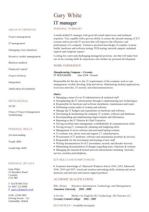 IT manager CV example | Raj Tanwer | Pinterest | Cv template ...