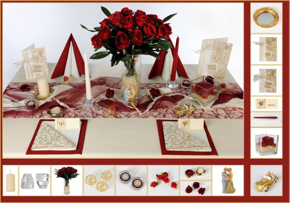 Tischdeko Zur Goldenen Hochzeit In Rot Bordeaux Dezente