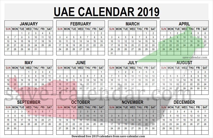 Calendar 2019 Uae Pdf Template Printable Calendar Dubai Travel