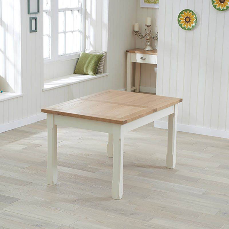Sandringham Solid Oak Dining Table (Sizes 130cm/150cm/130-186cm Extending/180cm-270cm Extending) - Cream -  - Dining Table - Mark Harris - Space & Shape - 2
