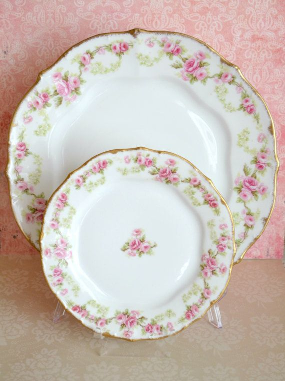 Beautiful Antique Limoges Bread and Butter Plate and Dinner Plate