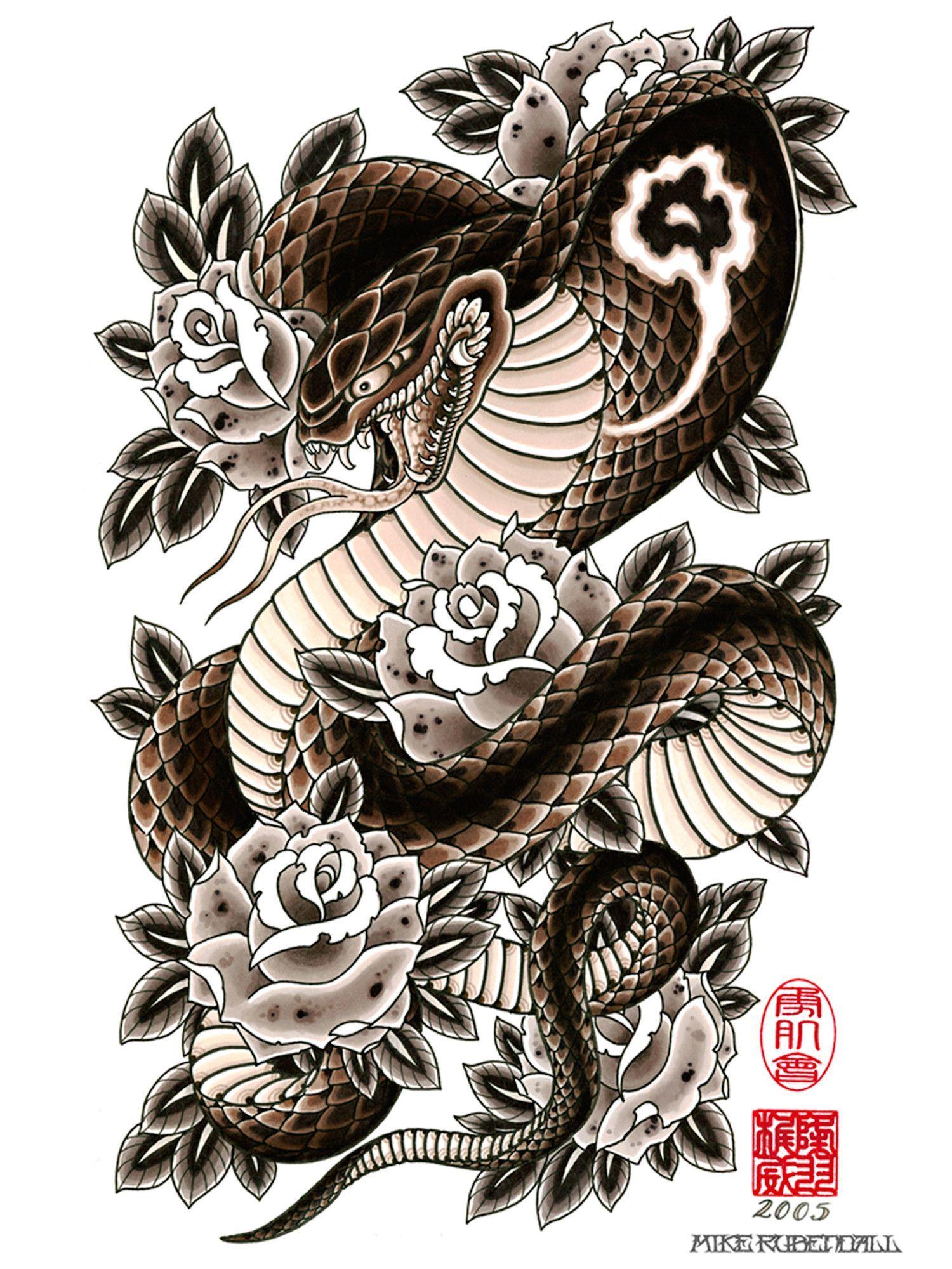 Cobra & Roses Cobra tattoo, Japanese snake tattoo, Snake