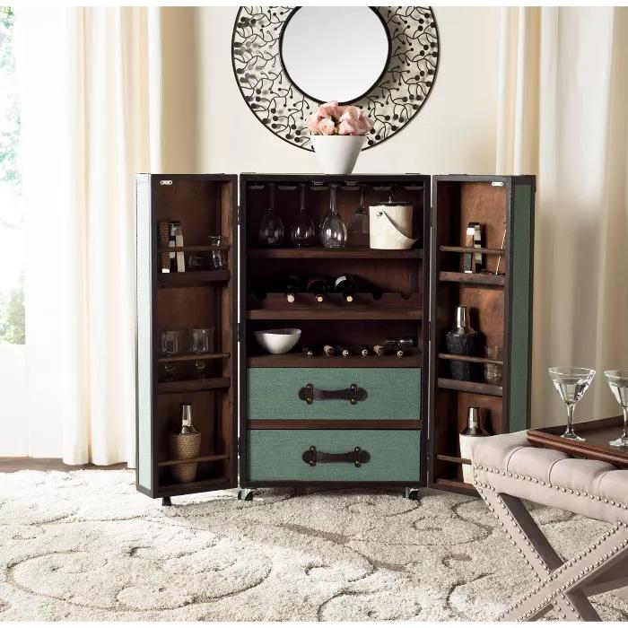 Nala Bar Cabinet Safavieh In 2020 Bar Furniture Bar Cabinet Wood Bar Cabinet