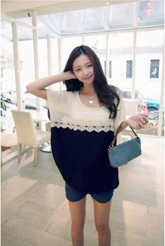 Batwing-Sleeve Color Block Chiffon Shirt on BuyTrends.com, only price $9.23
