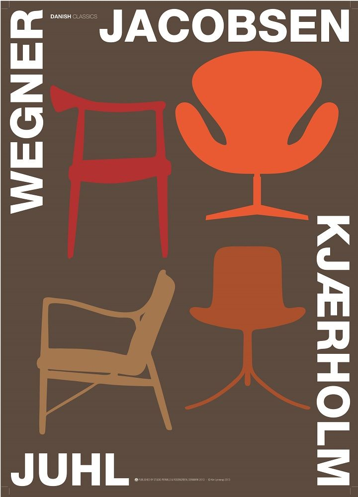 Danish poster by Kim Lynnerup 4 classic design chairs from