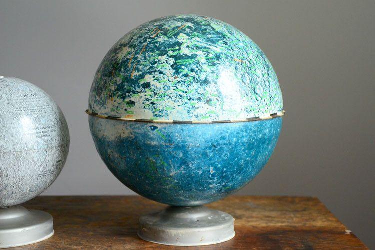Vintage 9 inch J. Chein Moon Globe